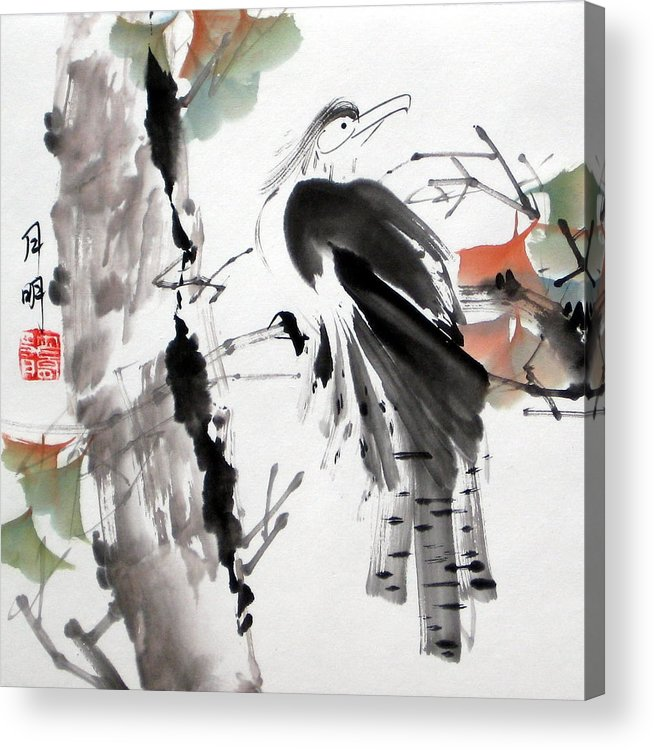Chinese Painting Acrylic Print featuring the painting Solitude by Ming Yeung