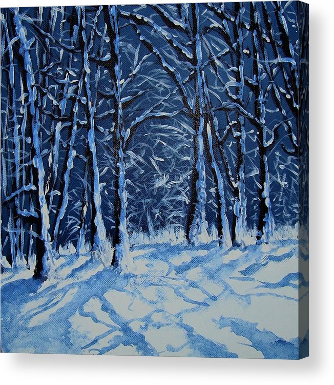 Landscape Acrylic Print featuring the painting Somich snow by Veronique Radelet