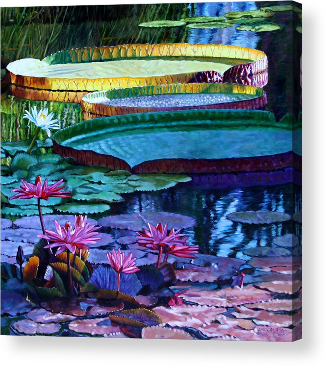 Garden Pond Acrylic Print featuring the painting Stillness of Color and Light by John Lautermilch