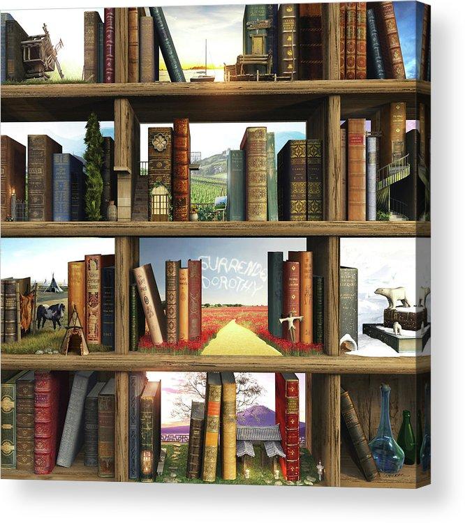 Books Acrylic Print featuring the digital art StoryWorld by Cynthia Decker