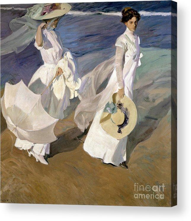 Sorolla Acrylic Print featuring the painting Strolling along the Seashore by Joaquin Sorolla y Bastida