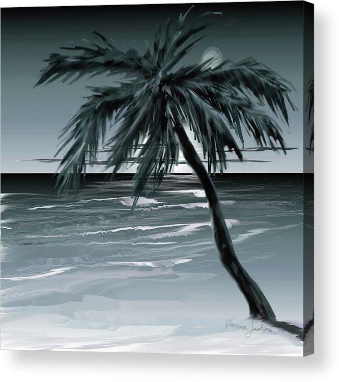 Water Beach Sea Ocean Palm Tree Summer Breeze Moonlight Sky Night Acrylic Print featuring the digital art Summer Night in Florida by Veronica Jackson