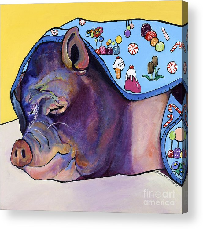 Farm Animal Acrylic Print featuring the painting Sweet Dreams by Pat Saunders-White