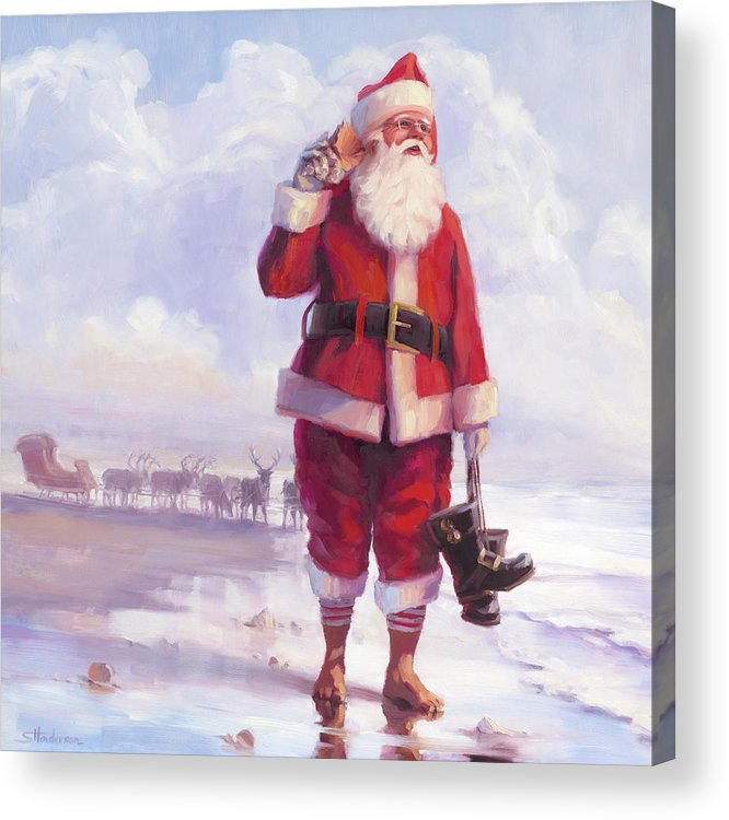 Christmas Acrylic Print featuring the painting Taking a Break by Steve Henderson