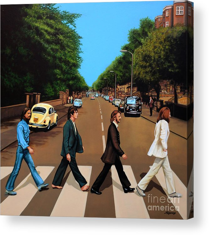 The Beatles Acrylic Print featuring the painting The Beatles Abbey Road by Paul Meijering