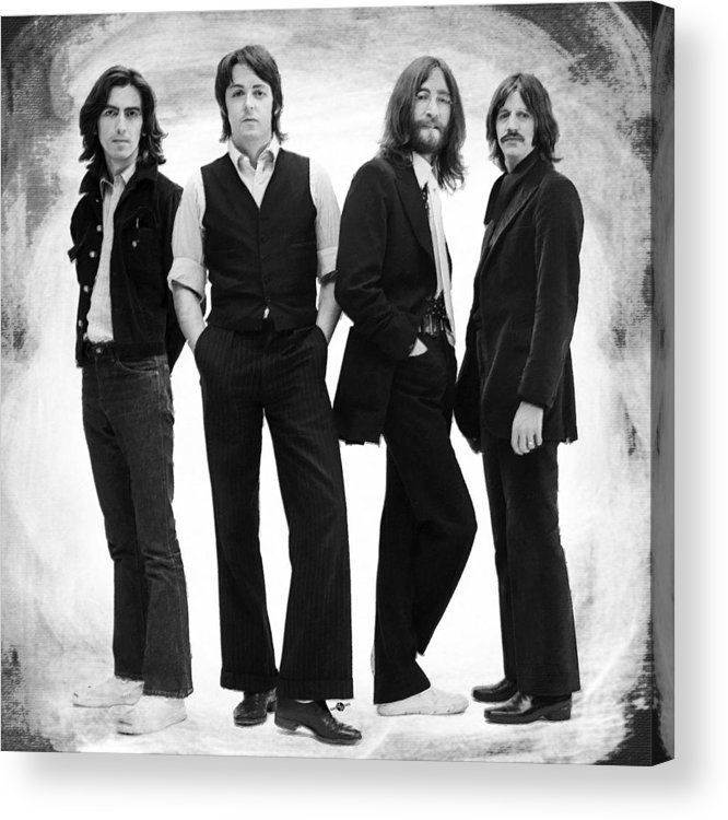 The Beatles Acrylic Print featuring the painting The Beatles Painting Late 1960s Early 1970s Black And White by Tony Rubino