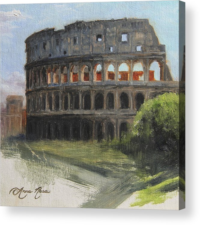 Landscape Acrylic Print featuring the painting The Coliseum Rome by Anna Rose Bain