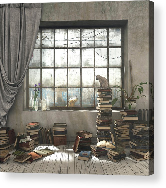 Books Acrylic Print featuring the digital art The Introvert by Cynthia Decker