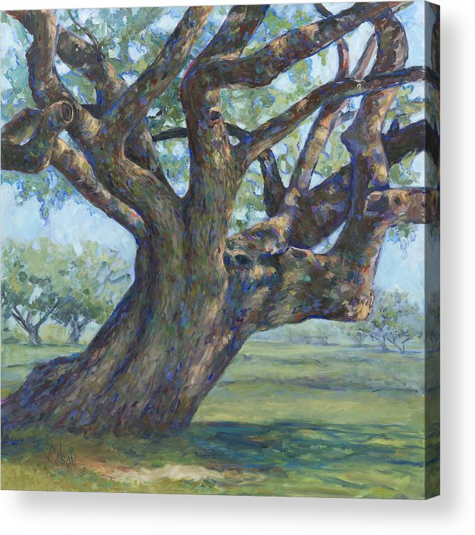 Live Oak Tree Acrylic Print featuring the painting The Mighty Oak by Billie Colson
