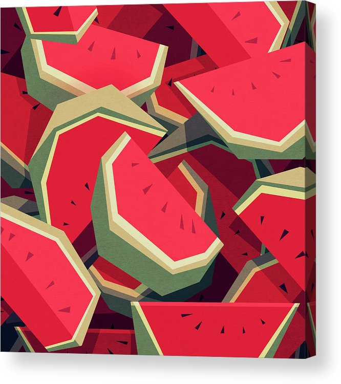 Watermelon Acrylic Print featuring the digital art Too many watermelons by Yetiland