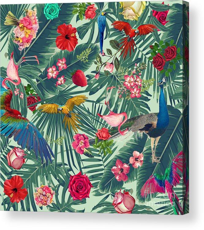 Summer Acrylic Print featuring the digital art Tropical Fun Time by Mark Ashkenazi