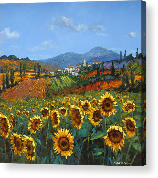 Tuscany Acrylic Print featuring the painting Tuscan Sunflowers by Chris Mc Morrow