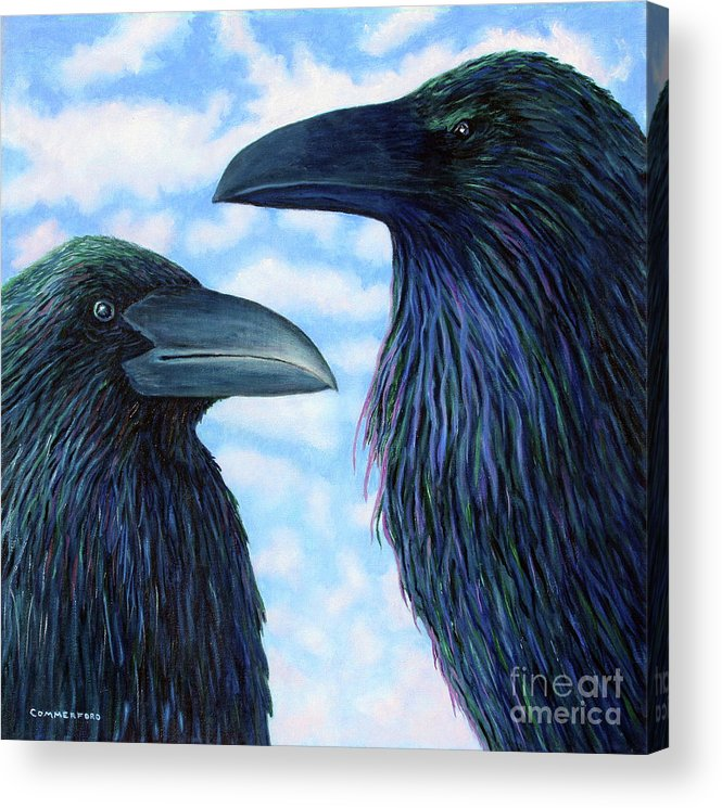 Raven Acrylic Print featuring the painting Two Ravens by Brian Commerford