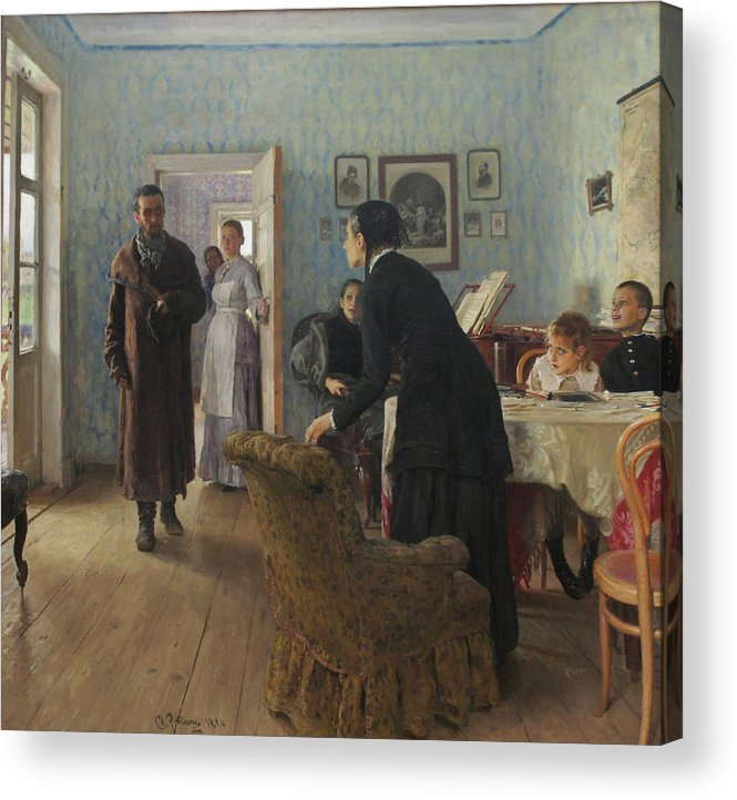 Ilya Repin Acrylic Print featuring the painting Unexpected Visitors by Ilya Repin