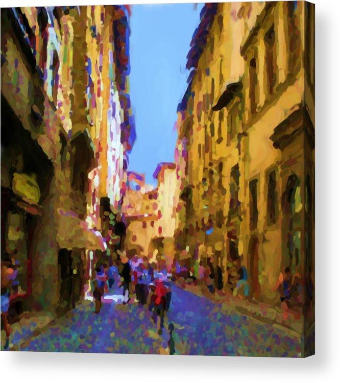 via De Guicciardini Florence Tuscany Italy Lonvig Acrylic Print featuring the photograph Via de Guicciardini Florence by Asbjorn Lonvig