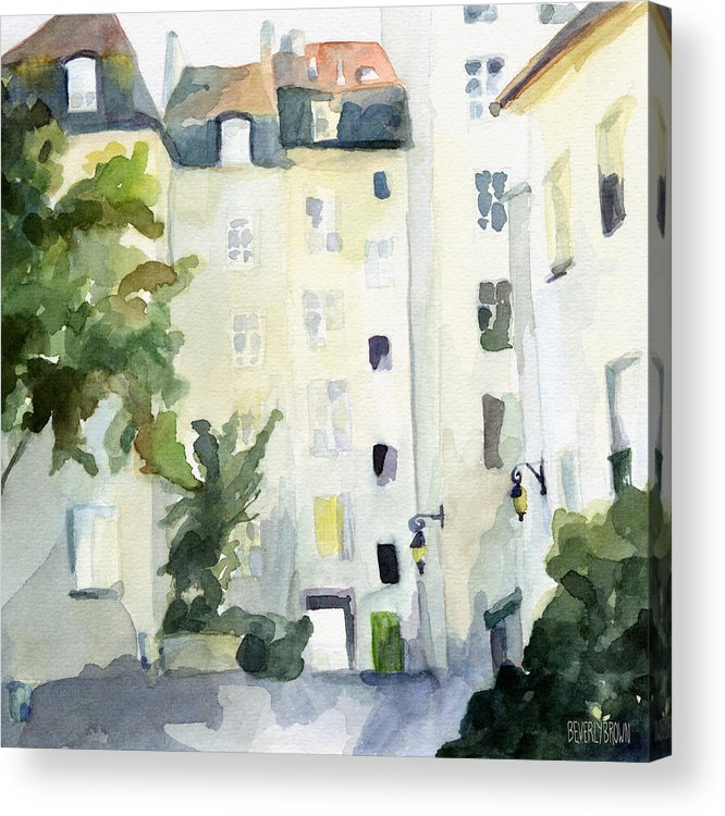 Paris Acrylic Print featuring the painting Village Saint Paul Watercolor Painting of Paris by Beverly Brown