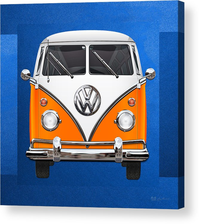 'volkswagen Type 2' Collection By Serge Averbukh Acrylic Print featuring the photograph Volkswagen Type - Orange And White Volkswagen T 1 Samba Bus Over Blue Canvas by Serge Averbukh
