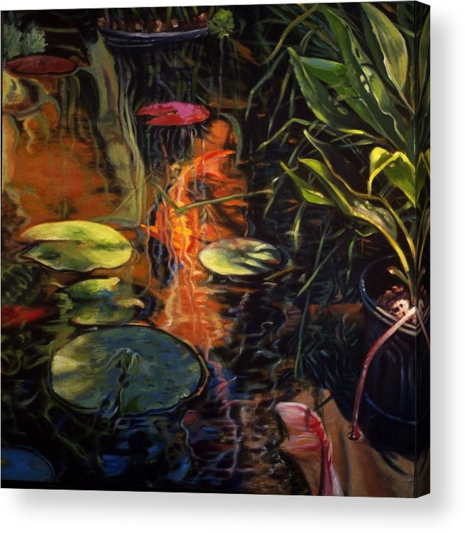 Water Garden Acrylic Print featuring the painting Water Garden Series A by Patricia Reed