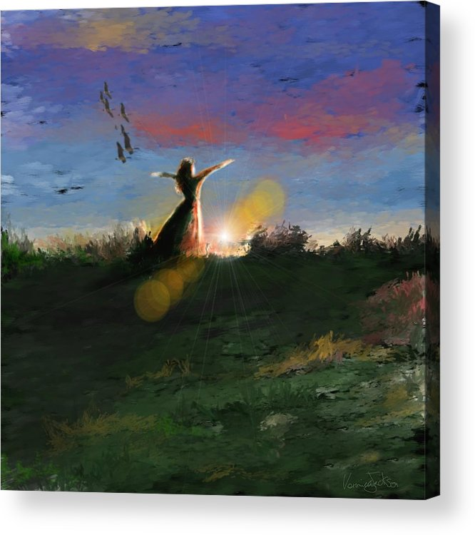 Morning Sunrise Star Woman Nature Sky Clouds Acrylic Print featuring the mixed media What's the story morning glory by Veronica Jackson