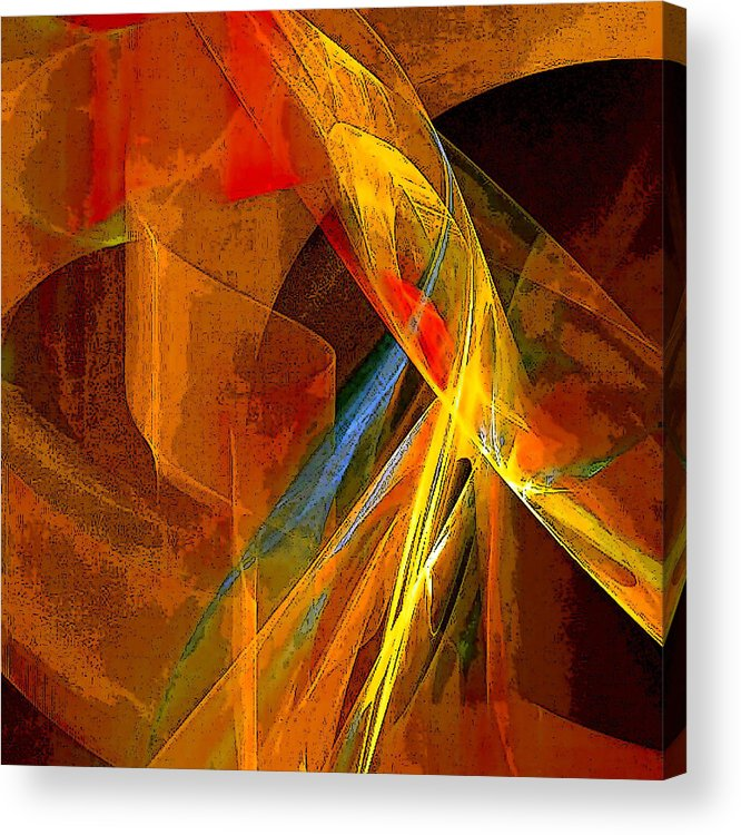 Abstract Acrylic Print featuring the digital art When Paths Cross by Ruth Palmer