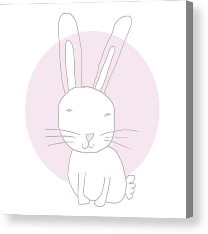Bunny Acrylic Print featuring the mixed media White Bunny On Pink- Art by Linda Woods by Linda Woods