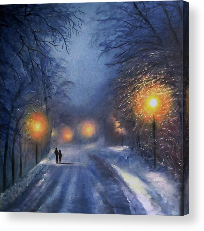 Winter Night Acrylic Print featuring the painting Winter lights by Natalja Picugina