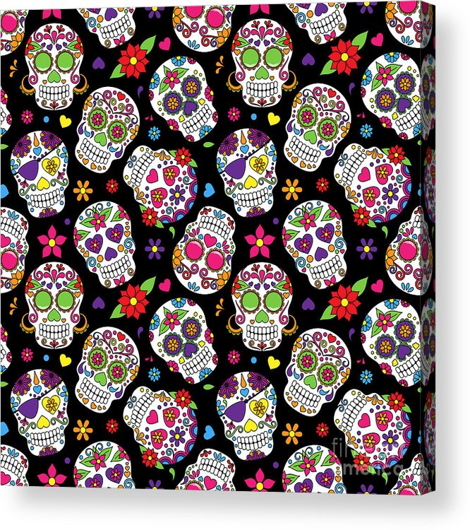 De Acrylic Print featuring the digital art Day Of The Dead Sugar Skull Seamless by Pinkpueblo
