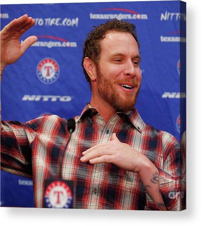 People Acrylic Print featuring the photograph Texas Rangers Introduce Josh Hamilton by Tom Pennington