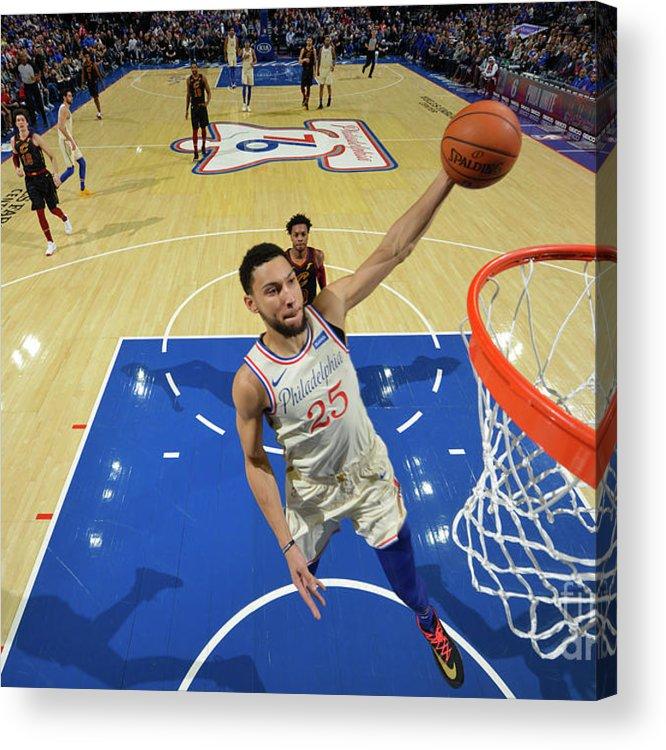 Nba Pro Basketball Acrylic Print featuring the photograph Cleveland Cavaliers V Philadelphia 76ers by Jesse D. Garrabrant