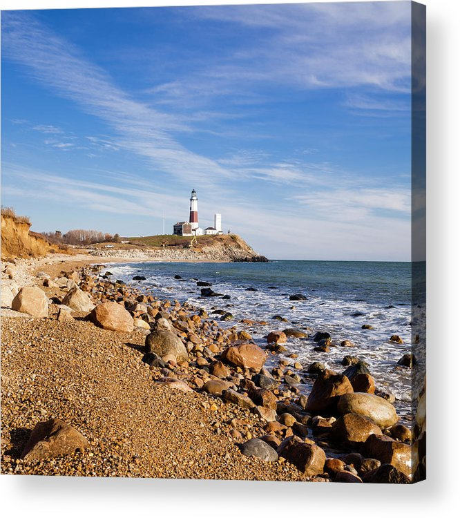 Headland Acrylic Print featuring the photograph Lighthouse At Montauk Point, Long by Alex Potemkin