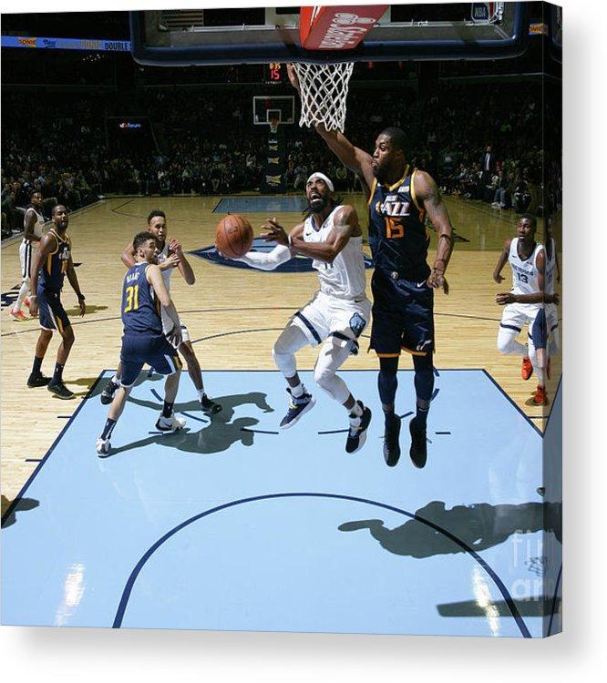Nba Pro Basketball Acrylic Print featuring the photograph Utah Jazz V Memphis Grizzlies by Joe Murphy