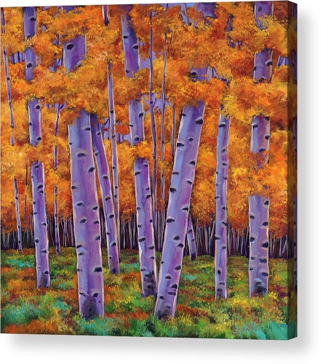 Aspen Trees Acrylic Print featuring the painting A Chance Encounter by Johnathan Harris
