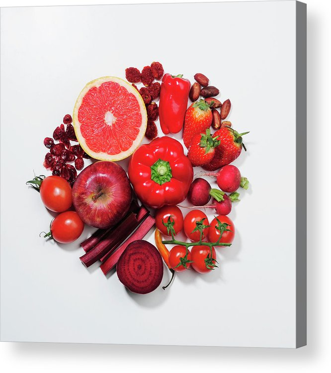 White Background Acrylic Print featuring the photograph A Selection Of Red Fruits & Vegetables by David Malan