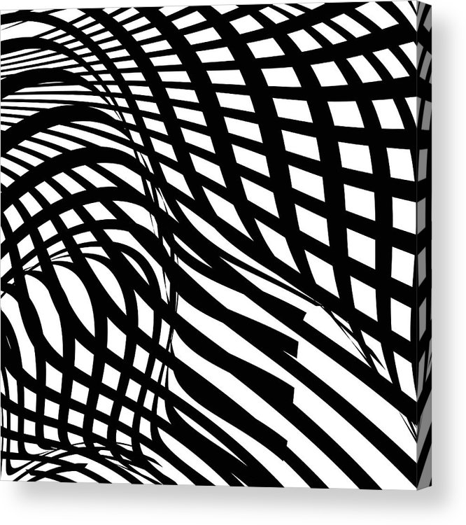 Curve Acrylic Print featuring the digital art Abstract Black And White Stripe Shape by Shuoshu
