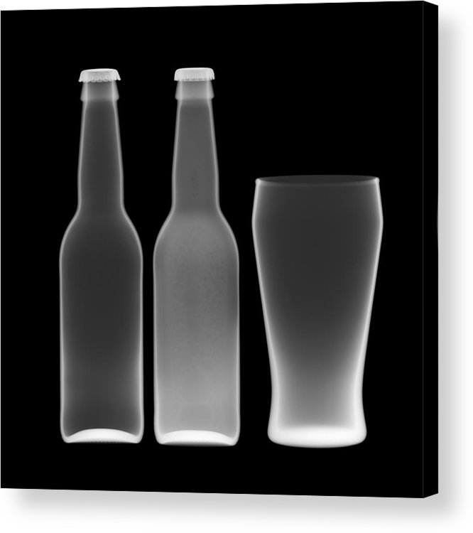 Alcohol Acrylic Print featuring the photograph Beer Bottles And Drinking Glass by Nick Veasey