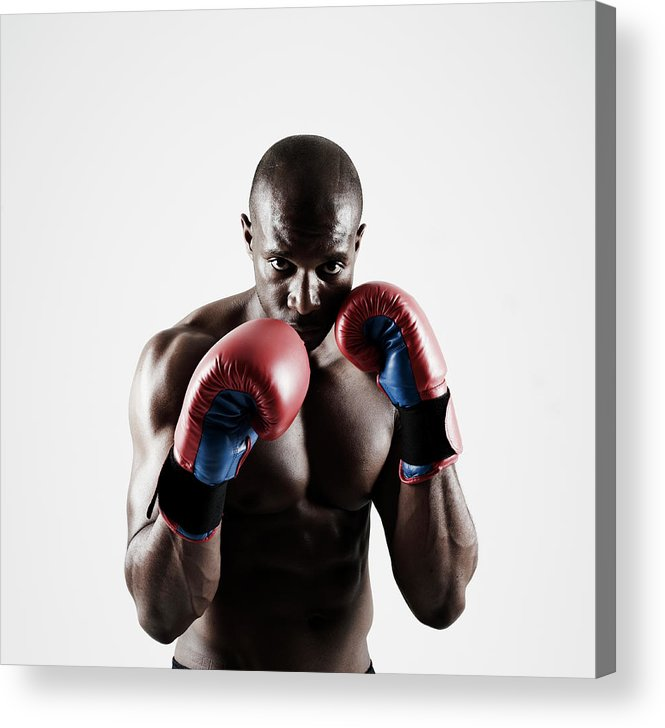 People Acrylic Print featuring the photograph Black Male Boxer In Boxing Stance by Mike Harrington