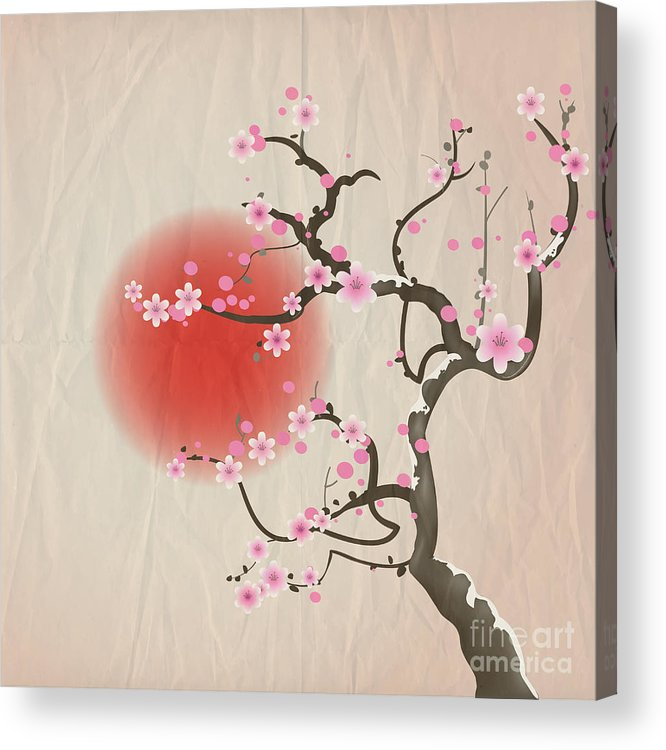 Symbol Acrylic Print featuring the digital art Bough Of A Cherry Blossom Tree Against by Jane Rix