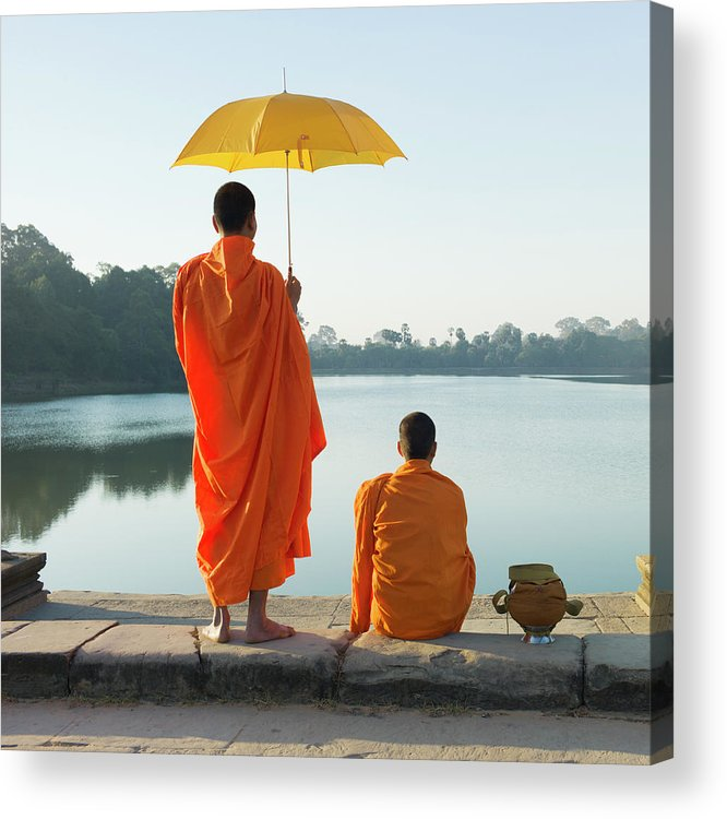 Young Men Acrylic Print featuring the photograph Buddhist Monks Standing In Front Of by Martin Puddy