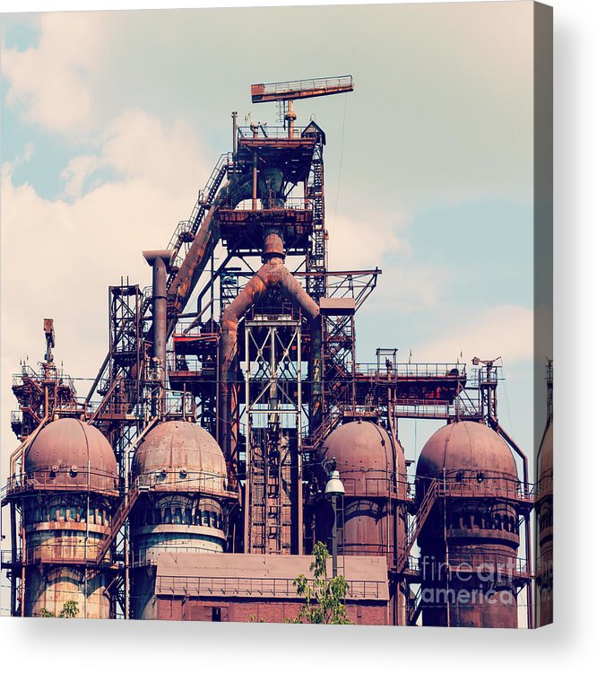 Ironmaking Acrylic Print featuring the photograph Building A Blast Furnace At The Steel by Mikhail Starodubov