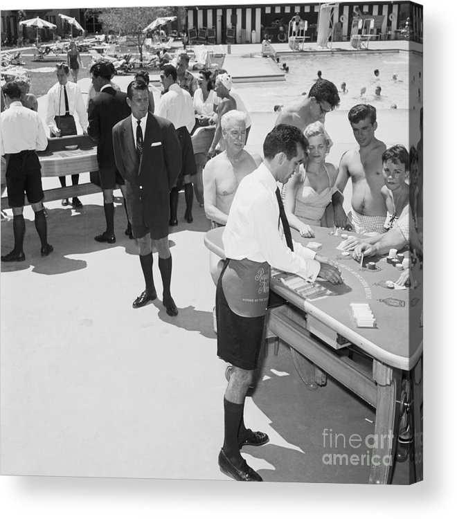 People Acrylic Print featuring the photograph Casino Dealers In Shorts by Bettmann