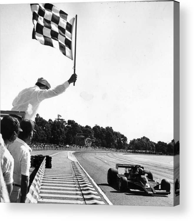 People Acrylic Print featuring the photograph Chequered Flag by Keystone