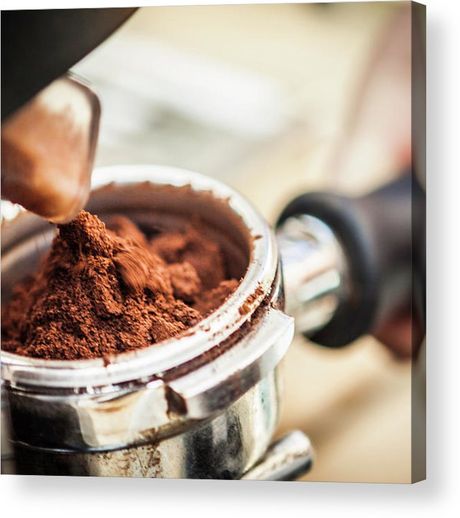 Mature Adult Acrylic Print featuring the photograph Close Up Of Espresso Grounds In Machine by Manuel Sulzer