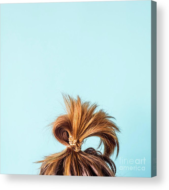 People Acrylic Print featuring the photograph Close-up Of Woman With Hair Bun by Valeriia Sviridova / Eyeem