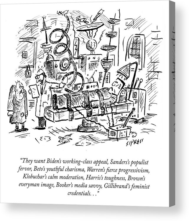They Want Biden's Working-class Appeal Acrylic Print featuring the drawing Freankenstein's Monster by David Sipress