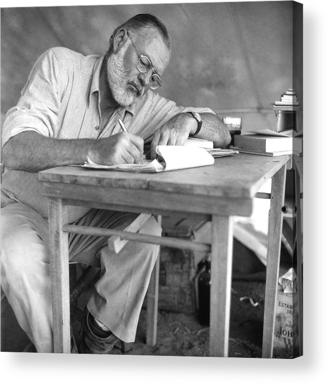 Working Acrylic Print featuring the photograph Hemingway On Safari by Earl Theisen Collection