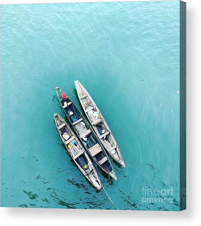 Tranquility Acrylic Print featuring the photograph High Angle View Of Ship Moored On Sea by Boubacar Issa Oumar / Eyeem
