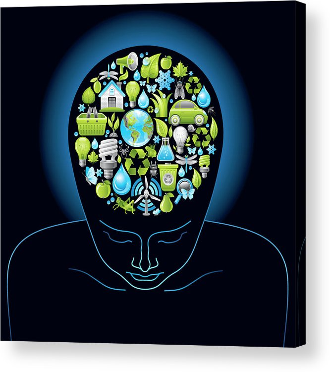Expertise Acrylic Print featuring the digital art Human Head With Ecological Symbols In by O-che