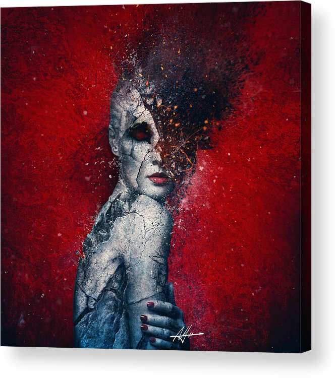 Red Acrylic Print featuring the digital art Indifference by Mario Sanchez Nevado
