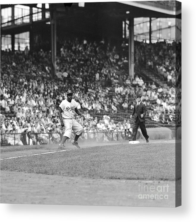 1950-1959 Acrylic Print featuring the photograph Jackie Robinson At Ebbets Field, 1956 by Robert Riger