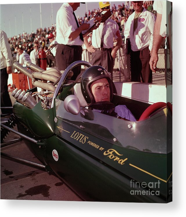 Crash Helmet Acrylic Print featuring the photograph Jim Clark In His Ford Lotus by Bettmann